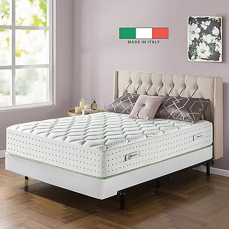 """Zinus Night Therapy Italian Made Olive Oil Infused 12"""" Hybrid Full Mattress and BiFold Box Spring Set"""