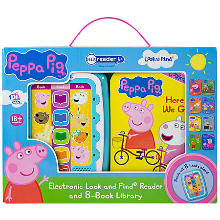 Peppa Pig Electronic Me Reader Jr and 8 Look and Find Sound Book Library