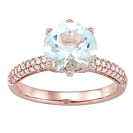 9MM Aquamarine and .39 CT. T.W. Diamond Ring in 14K Rose Gold
