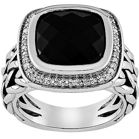 .22 CT. T.W. Cushion Cut Onyx and Diamond Ring in Sterling Silver