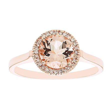 1.2 CT. Morganite and 0.08 CT. T.W. Diamond Ring in 14K Rose Gold