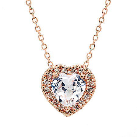 Created White Sapphire and 0.08 CT T.W. Diamond Heart Pendant in 14K Rose Gold