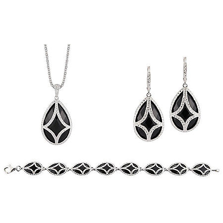Sterling Silver and Black Onyx 3-Piece Set