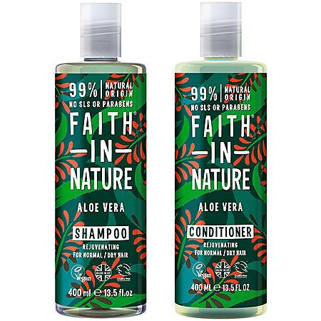 Faith in Nature Aloe Vera Shampoo and Conditioner, Vegan and Cruelty-Free (13.5 oz. each, 2 pk.)