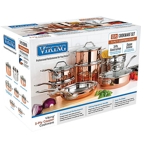 Viking 13-Piece Tri-Ply Copper Cookware Set (Pallet Buy of 12 Units)