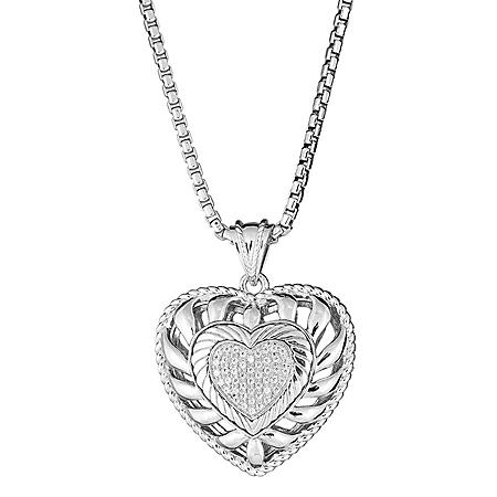 """0.24 CT. T.W.  Diamond Puffed Heart Pendant in Sterling Silver, Adjustable to 25"""" (H-I, I1)"""