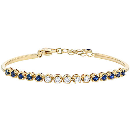 S Collection 1 CT Blue Sapphire and 1/2 CT Diamond Semi Tennis Adjustable Bracelet in 14K Yellow Gold