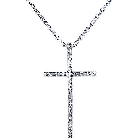 0.10 CT. T.W. Diamond Cross Pendant in Sterling Silver