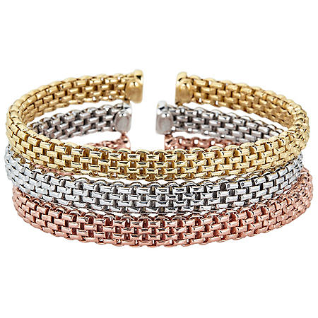 Italian Sterling Silver and 18K Gold Plated Tulip Link Bangle Set