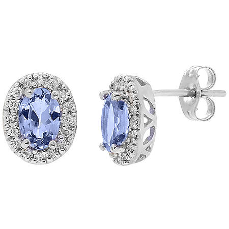 Genuine Tanzanite and 0.16 CT. T.W. Diamond Earrings in 14K Gold