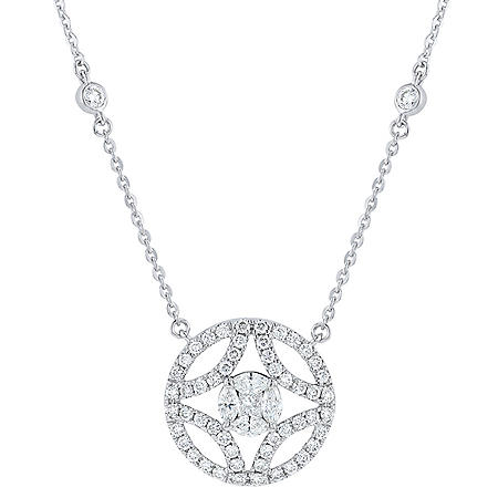 1 CT. T.W. Fancy Composite Diamond Necklace in 14K White Gold Diamond Shaped Frame
