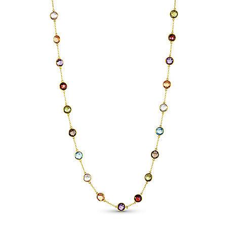 13 CT. T.W. Multi Gemstone Necklace in 14 Karat Yellow Gold