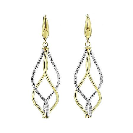 14K Italian Two Tone Gold Double Twist Drop Earrings