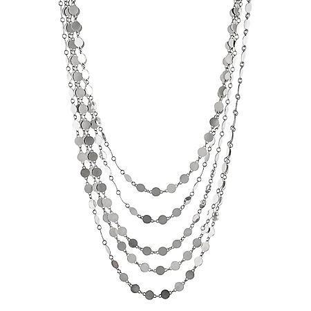 Italian Sterling Silver 5 Row Mirror Chain Necklace