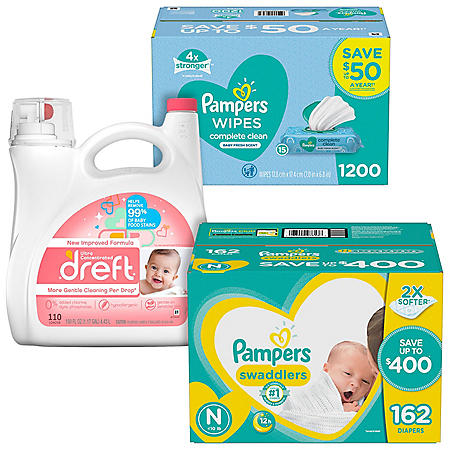 Pampers Swaddlers Diaper, Wipe & Dreft Bundle (Choose Your Size)