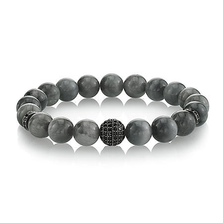 Spartan Men's 925 Sterling Silver with Black Spinel and 10mm Bead Stretch Bracelet