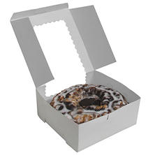 "Cake Box with Window, White (10"" x 10"" x 4"", 12 pk.)"