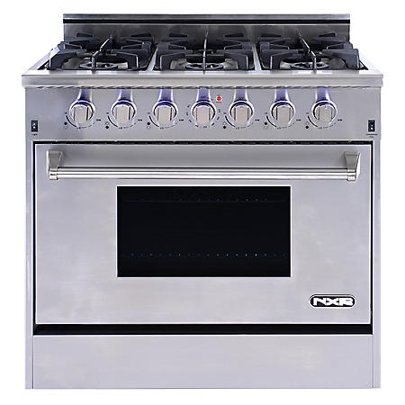 """NXR Elite Stainless-Steel 36"""" Gas Range with Convection Oven"""