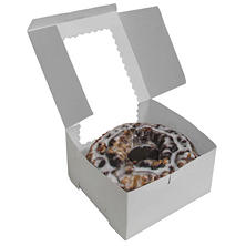 "Cake Box with Window, White (4"" x 4"" x 4"", 12 pk.)"