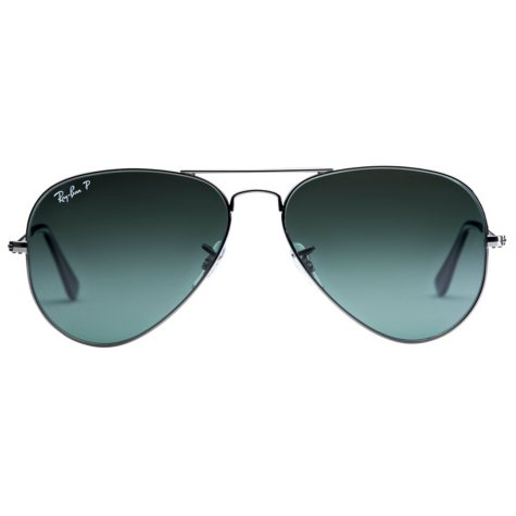 Ray Ban Aviator Classic Polarized Sunglasses, Gunmetal/Green