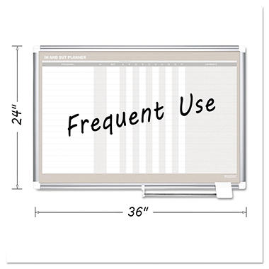 MasterVision - In-Out Magnetic Dry Erase Board, 36x24 -  Silver Frame