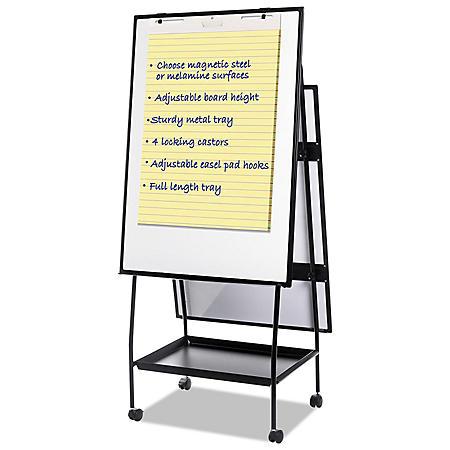 "MasterVision Creation Station Magnetic Dry Erase Board, 29-1/2"" x 74-7/8"", Black Frame"