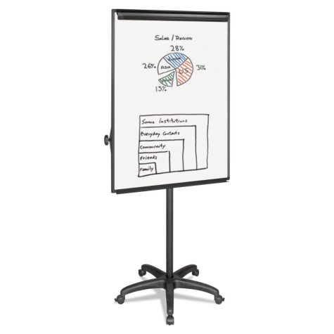 """MasterVision - Silver Easy Clean Dry Erase Mobile Presentation Easel -  44"""" to 75-1/4"""" High"""