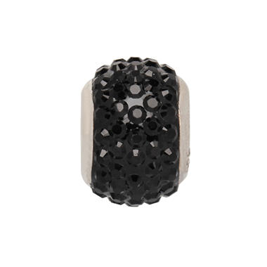 Black Diamond Genuine Swarovski Crystal Charm Bead in Sterling Silver