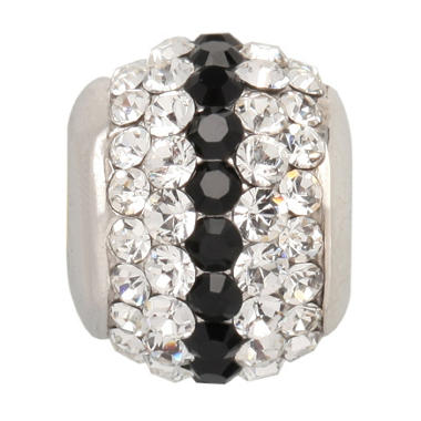 Black and White Genuine Swarovski Crystal Charm Bead in Sterling Silver