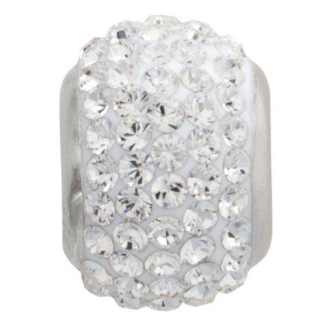 White Genuine Swarovski Crystal Charm Bead in Sterling Silver