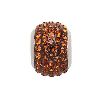 Smoked Topaz Genuine Swarovski Crystal Charm Bead in Sterling Silver