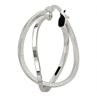 2mm Overlapping Double Round Hoop Earring in 14K White Gold