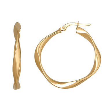3x25mm Twisted Round Hoop Earring in 14K Yellow Gold