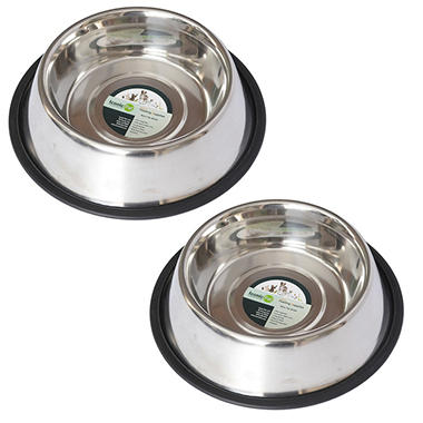 Iconic Pet Stainless Steel Non-Skid Pet Bowl for Dog or Cat, Silver - Choose Your Size (2 pk.)