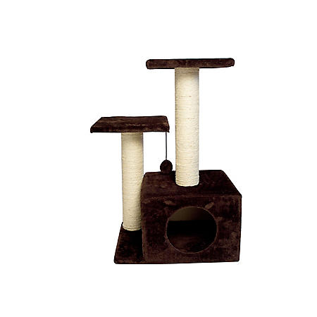Iconic Pet Sisal Scratching Tree with Square Cave and Two Posts, Brown