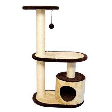 Iconic Pet Three Tier Cat Tree Condo with Multiple Posts, Beige/Brown