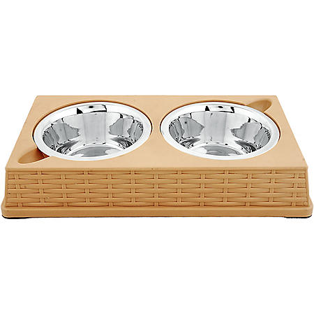 Iconic Pet Designer Rattan Double Dinner Bowl for Dog or Cat, 28 oz - 3.5 cups (Choose Your Color)