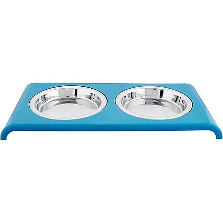 Iconic Pet Cat Double Diner Saucer, 12 oz - 1.5 cups, Blue