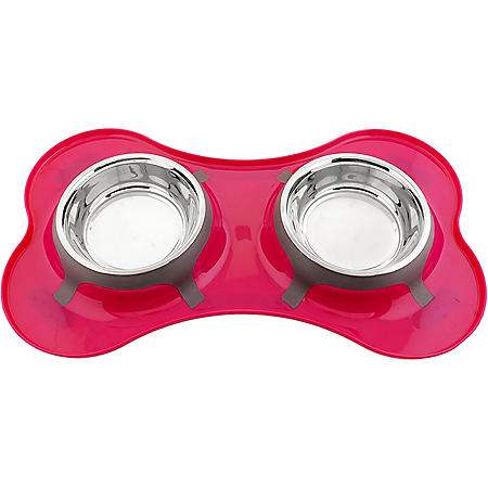 Iconic Pet Bone Shape Double Diner Bowl, 32 oz., 4 cups (Choose Your Color)