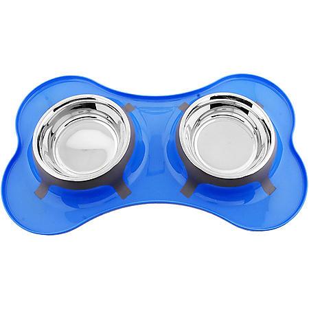 Iconic Pet Bone Shape Double Diner Bowl, 32 oz., 4 cups (Choose Your Color)
