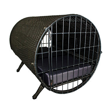 Iconic Pet Rattan Cylinder Pet Cage, Brown