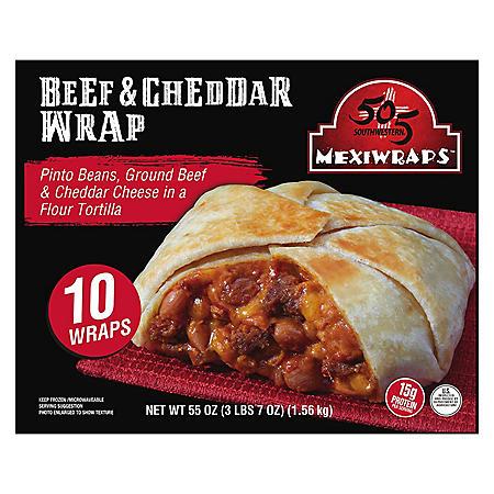 505 Southwestern MexiWraps, Beef & Cheddar, Frozen (5.5 oz. each, 10 wraps)