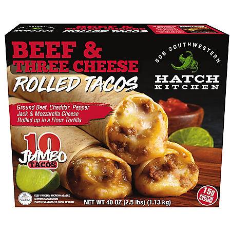 505 Southwestern Beef and Three Cheese Jumbo Rolled Tacos, Frozen (4 oz. each, 10 ct.)