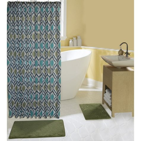 Falcon Bath Mat and Shower Curtain Set, Classic Sage
