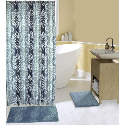 Cosmo Bath Mat and Shower Curtain Set, Classic Blue