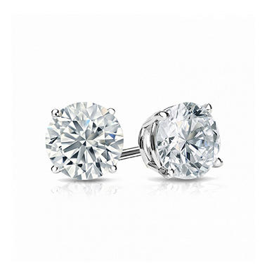 T W Round Brilliant Lab Created Diamond Stud Earrings In 18k White Gold