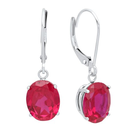 5.6 CT. T.W. Oval Cut Created Ruby Dangle Leverback Earrings in 14K Gold