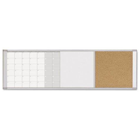 MasterVision - Magnetic Calendar Combo Board, 48 x 18 -  Aluminum Frame