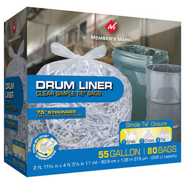 Member's Mark Simple Tie Drum Liners (55gal., 80ct.)
