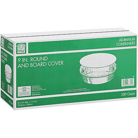 """Member's Mark 9"""" Round Aluminum Containers with Lids (200 ct.)"""